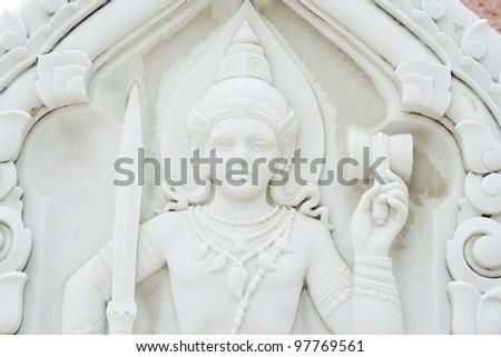 Buddha in stone sculpture - stock photo