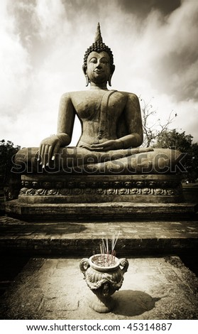 buddha in sukothai - stock photo