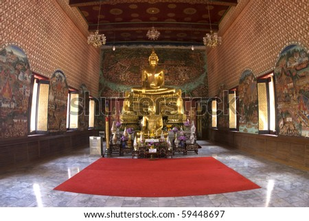 Buddha in Temple in Middle of Thailand - stock photo