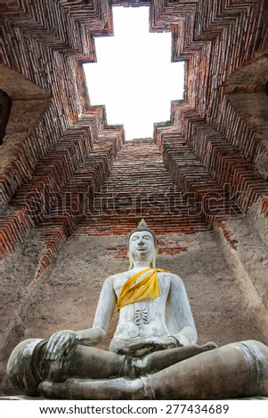 Buddha in the chimney is made of brick. - stock photo