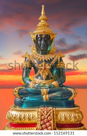 Buddha in the temple, which is a public place. - stock photo
