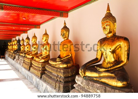 Buddha in Wat Pho Temple sequential nicely in Bangkok, Thailand. - stock photo
