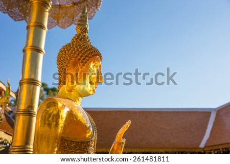Buddha in wat phra That Doi Suthep,Temple Chiang Mai Province Thailand - stock photo