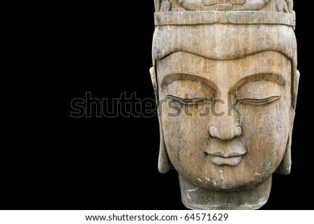 Buddha isolated on black - stock photo