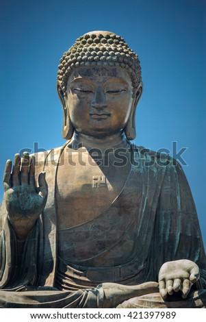 Buddha of Po Lin Monastery, Lantau Island, Hong Kong - stock photo