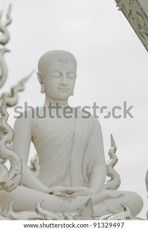Buddha of Wat Rong Khun or White Temple,Chiangrai Province,Thailand - stock photo