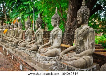 Buddha old in ayuthaya thailand - stock photo