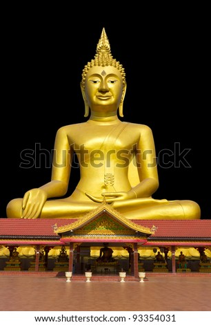 Buddha on the roof. Golden Buddha statue is larger than the roof of the temple.