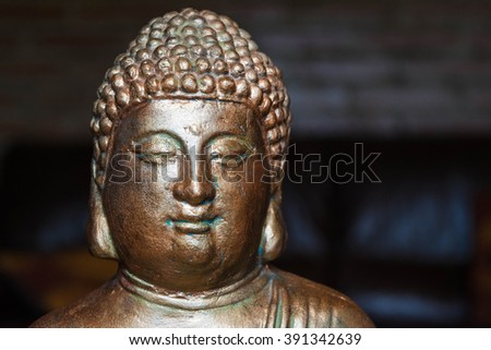 Buddha portrait dark background