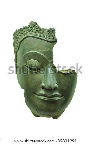 buddha's face break isolated on white background - stock photo