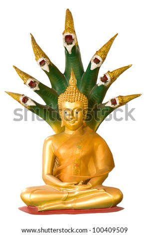 buddha sculpture and seven headed cobra isolated on white background - stock photo