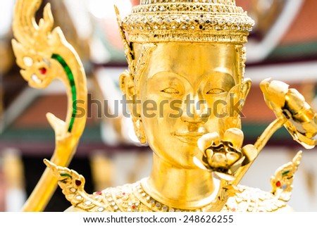 Buddha sculpture in Grand Palace Thailand - stock photo