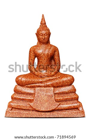 buddha sculpture - isolated red stone - stock photo