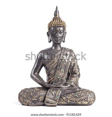 Buddha statue against white background - stock photo
