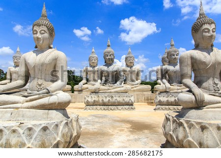Buddha statue and blue sky, Nakhon Si Thammarat Province, Thailan - stock photo
