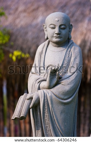 Buddha Statue at Dong Zen Temple in Malaysia. - stock photo