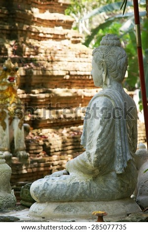 Buddha statue at Palad Temple in Chiangmai Thailand, Statue in buddhist Thailand temple are public domain or treasure of buddhism - stock photo