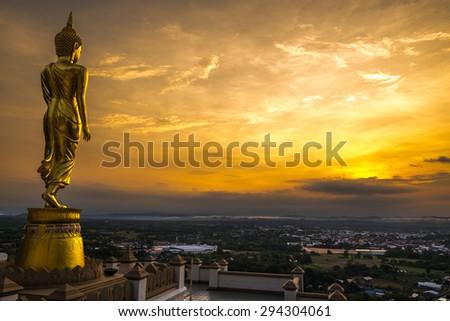 Buddha Statue at Wat Phra That Khao Noi, landmark in Nan province, northern of Thailand - stock photo