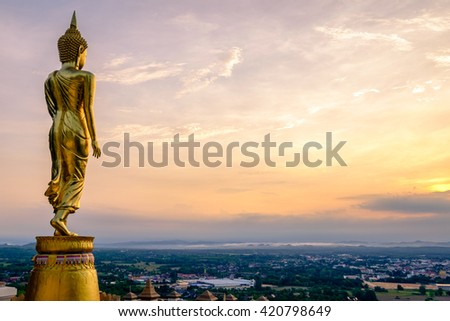 Buddha Statue at Wat Phra That Khao Noi, landmark in Nan province, northern of Thailand