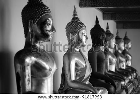 Buddha statue, Black and white - stock photo