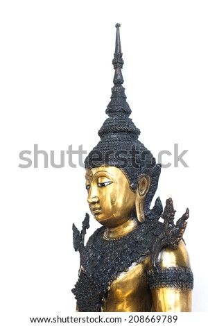 Buddha statue buddhism thai isolated thailand wisdom meditating praying natural sculpture oriental white calm statue peace culture glossy bright worship head venerable buddhist serene people bangkok - stock photo
