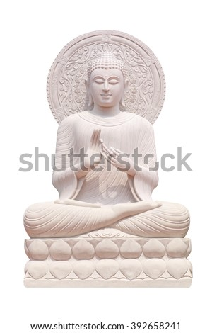 Buddha statue close up isolated against white background. - stock photo