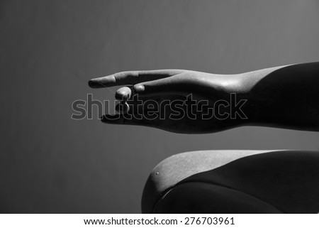 Buddha statue hand close up - stock photo