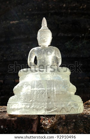 Buddha statue in a beautiful glass at Thailand - stock photo