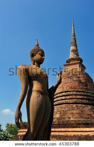 Buddha statue in Sukhothai - stock photo