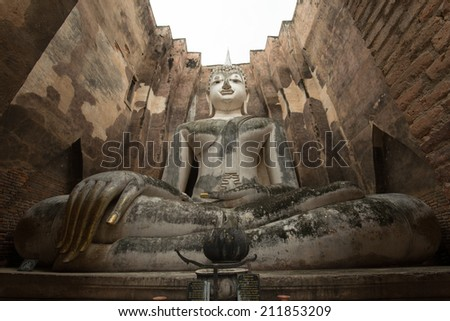 Buddha Statue in Sukhothai Historical Park,Thailand  - stock photo