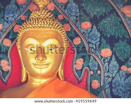 Buddha statue in Thailand (filter effect used) - stock photo