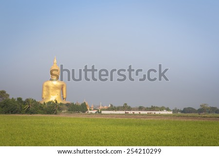 Buddha Statue in Thailand on rural landscape - stock photo