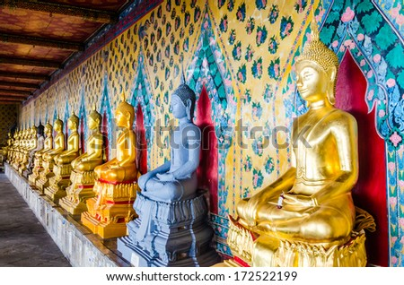 Buddha statue in the temple of bangkok thailand - stock photo