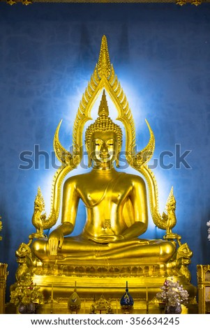Buddha Statue in Wat Benchamabophit Dusit Wanaram, Bangkok. The beauty of the Buddha in church Benchamabophit Temple . This is an important buddhist temple of thailand and famous tourist destination.  - stock photo