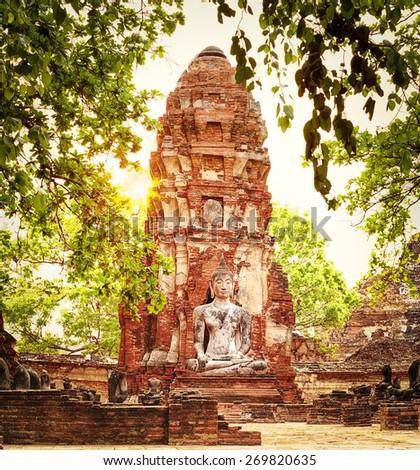 Buddha statue in Wat Mahathat. Ayutthaya historical park.  - stock photo