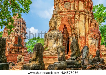 Buddha statue in Wat Mahathat temple, Ayutthaya, Thailand. - stock photo
