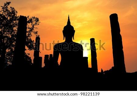 Buddha Statue in Wat Mahathat Temple in Sukhothai Historical  Park, Sukhothai Province, Thailand  . - stock photo