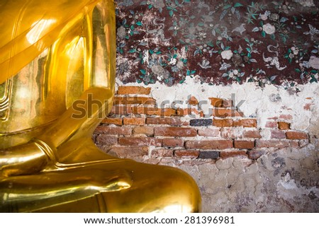 Buddha statue in Wat Sutat from Bangkok, Thailand - stock photo