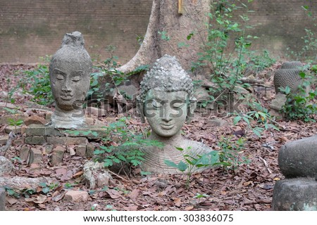 Buddha statue in Wat Umong, Chiang Mai, Thailand - stock photo
