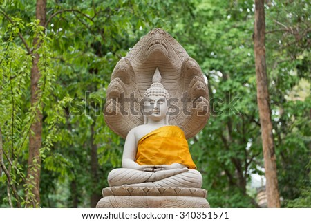 buddha statue in wat umong, chiang mai, travel thai temple in northern thailand, thailand - stock photo