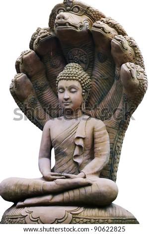 Buddha statue isolated on white. - stock photo