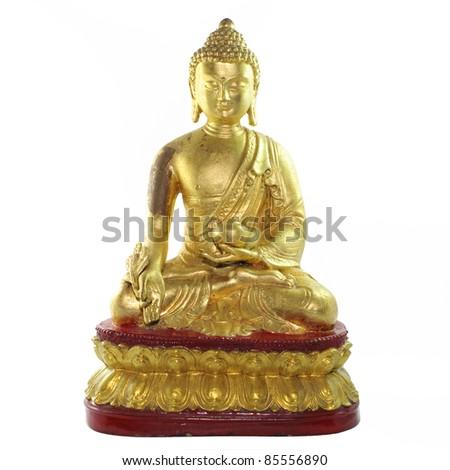 Buddha statue isolated on white background - stock photo