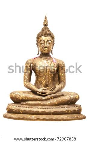 Buddha Statue, Isolated, white background - stock photo