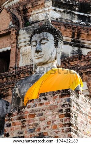 Buddha statue of Wat Yai Chaimongkol, Ayutthaya, Thailand. - stock photo