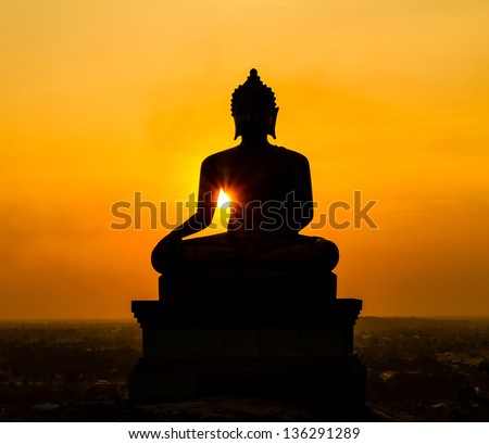 Buddha statue on sunset at Saraburi, Thailand