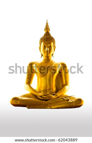 buddha statue on white background - isolated - stock photo