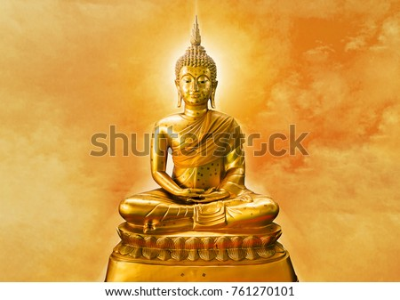 Buddha statue with aura on yellow sky background