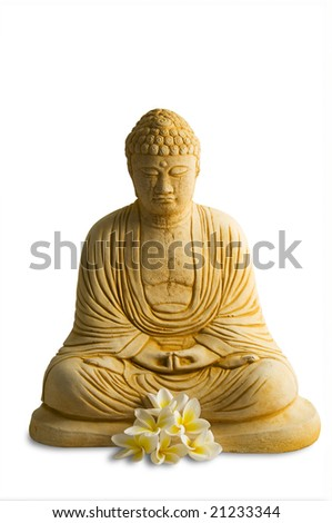 buddha statue with frangipanis isolated on white with clipping path