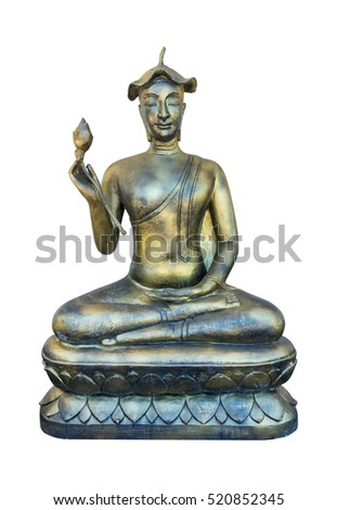 Buddha statue with lotus leaf on head and lotus in hand isolated on white background