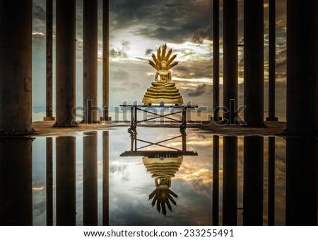 Buddha statue with reflection at Pattaya, Thailand - stock photo